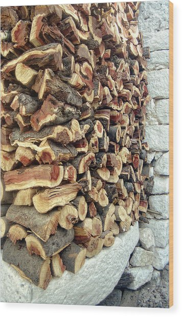 Winter Woodpile Wood Print