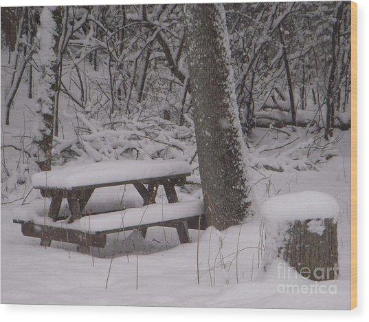 Winter Woods Wood Print by Deborah Finley