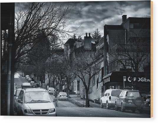 Winter Yew Street Wood Print by Paul Kloschinsky