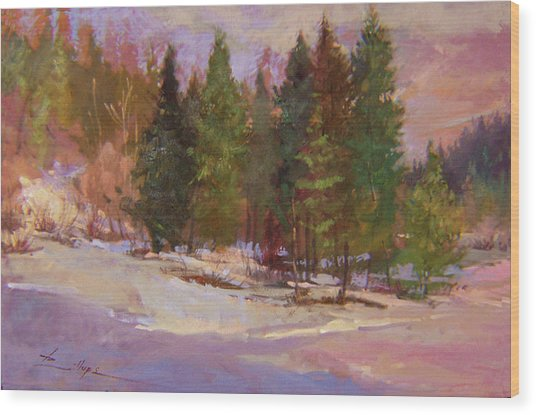 Winter's Eve Plein Air Wood Print