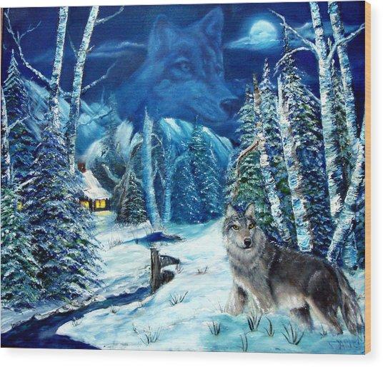 Winters Night 2 Wood Print by Darlene Green