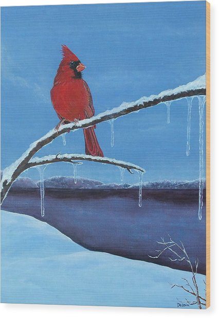 Winter's Red Wood Print