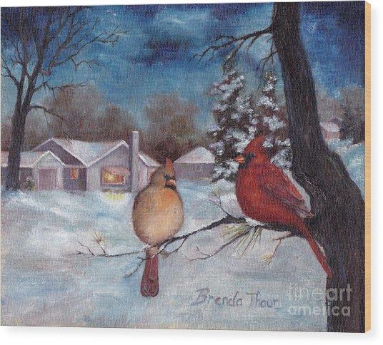 Winters Serenity Wood Print by Brenda Thour