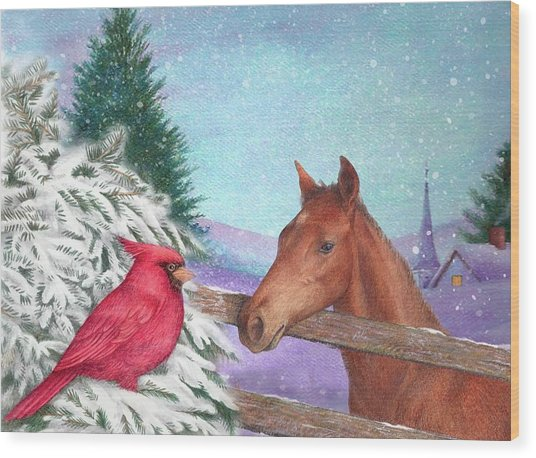Winterscape With Horse And Cardinal Wood Print