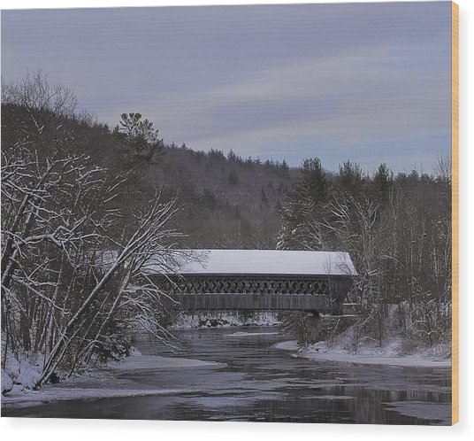 Wintery Covered Bridge, Henniker, Nh Wood Print