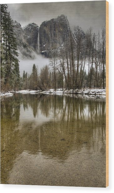 Wintery Upper And Lower Yosemite Falls  Wood Print