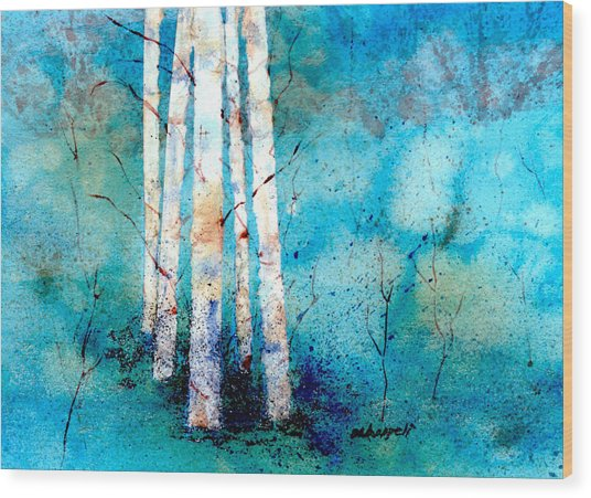 Wintry Aspen Wood Print