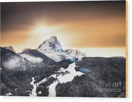 Wintry Sunset Wood Print by Alessandro Giorgi Art Photography