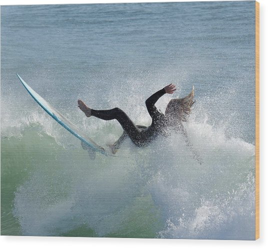 Wipe Out - California Surfer Wood Print