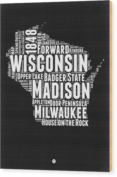 Wisconsin Black And White Word Cloud Map Wood Print