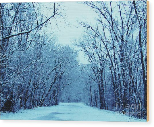 Wisconsin Frosty Road In Winter Ice Wood Print