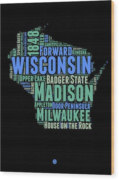 Wisconsin Word Cloud Map 1 Wood Print