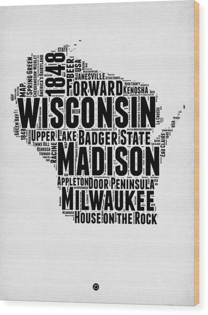 Wisconsin Word Cloud Map 2 Wood Print