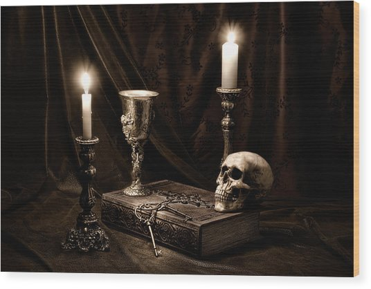 Wisdom Of The Ages Still Life Wood Print