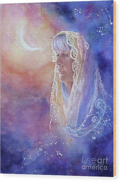 Wisdom Of The Waning Moon Wood Print