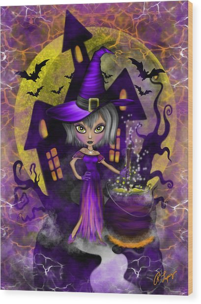 Wisdom Witch Fantasy Art Wood Print