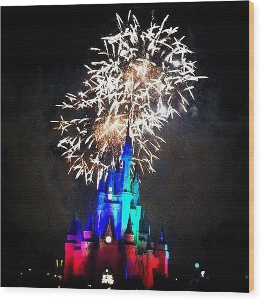 Wishes Fireworks Show Wood Print