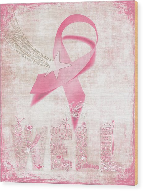 Wishing Well Breast Cancer Wood Print
