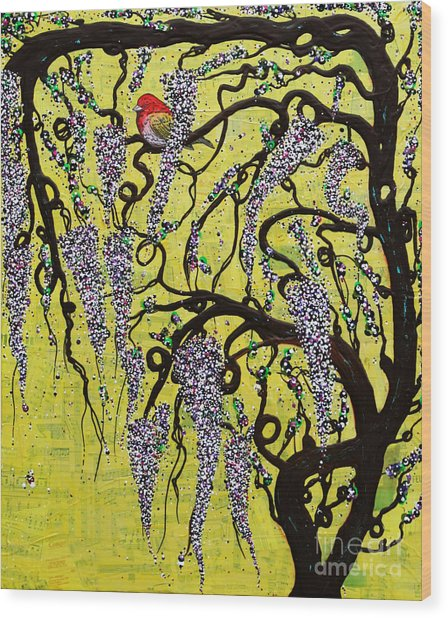 Wood Print featuring the mixed media Wisteria Delight by Natalie Briney