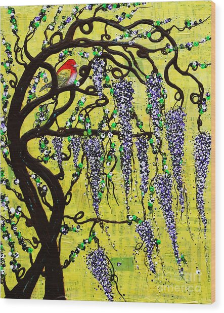 Wood Print featuring the mixed media Wisteria Joy by Natalie Briney