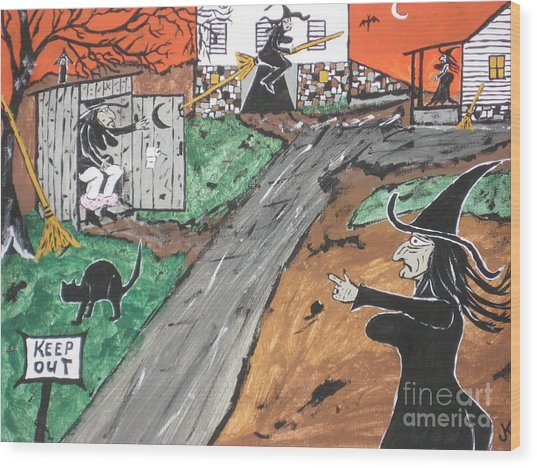 Witches Outhouse Wood Print