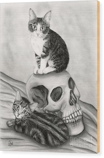 Witch's Kittens Wood Print