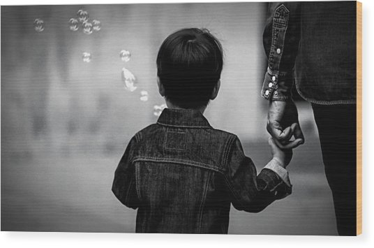 With Dad And Bubbles Wood Print by Dieter Lesche