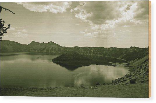 Wood Print featuring the photograph Wizard Island In Sepia by Pacific Northwest Imagery