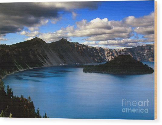 Wizard Island Stormy Sky- Crater Lake Wood Print