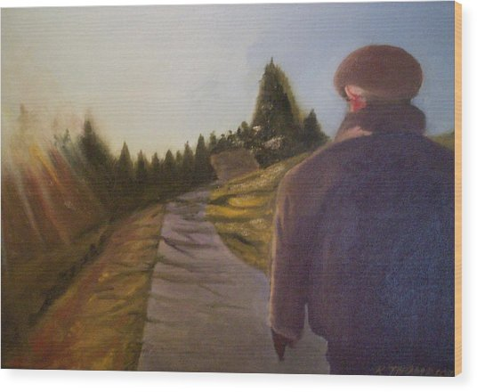 Wnter Walk Wood Print by Karen Thompson