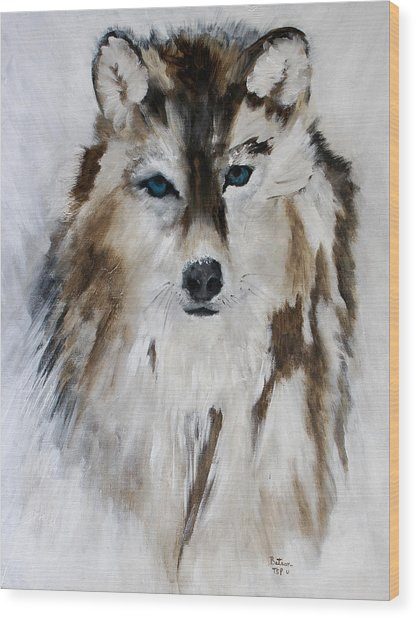 Wolf - Blue Star Wood Print