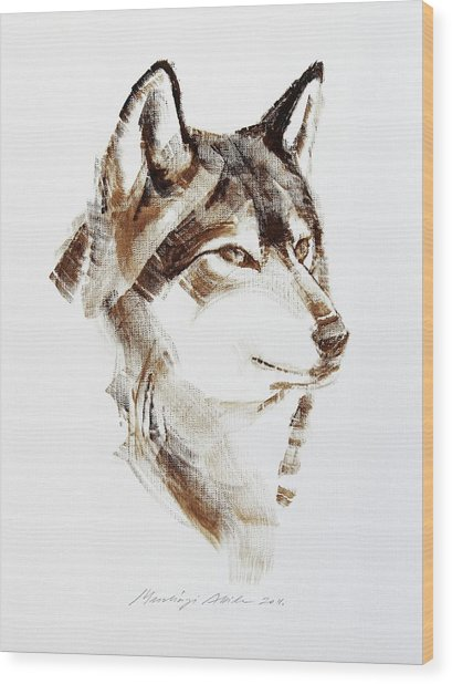 Wolf Head Brush Drawing Wood Print