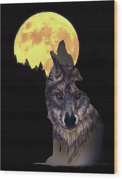 Wolf Howling At The Moon Wood Print