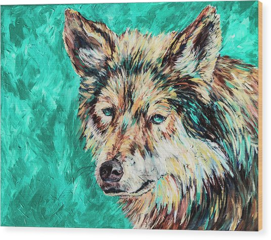 Wolf In Turquoise Wood Print
