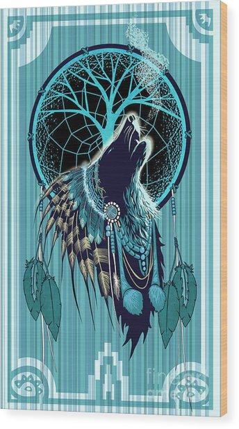 Wolf Indian Shaman Wood Print
