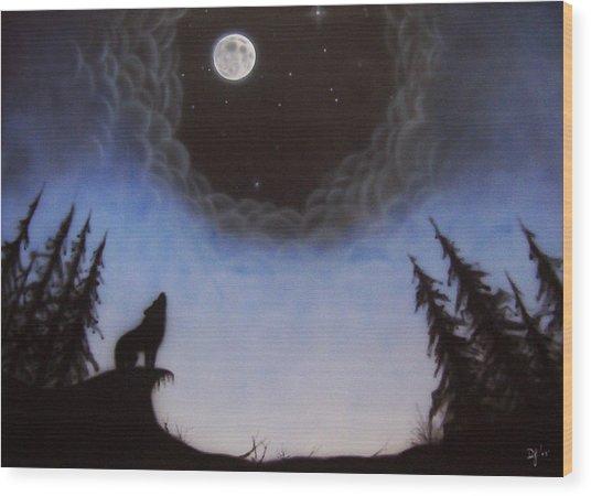 Wolf Moon Wood Print by Devaron Jeffery