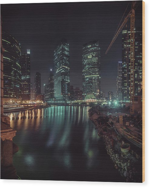 Wolf Point Night Wood Print