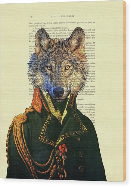 Wolf Portrait Illustration Wood Print