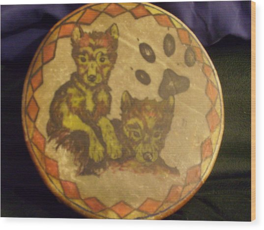 Wolf Pup Drum Wood Print by Angelina Benson