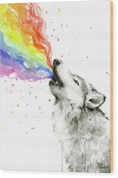 Wolf Rainbow Watercolor Wood Print