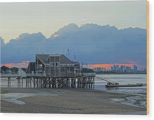 Wollaston Beach Quincy Ma Sunset Boston Skyline Quincy Ma Wood Print