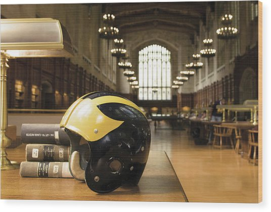 Wolverine Helmet In Law Library Wood Print