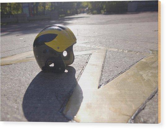 Wolverine Helmet On The Diag Wood Print