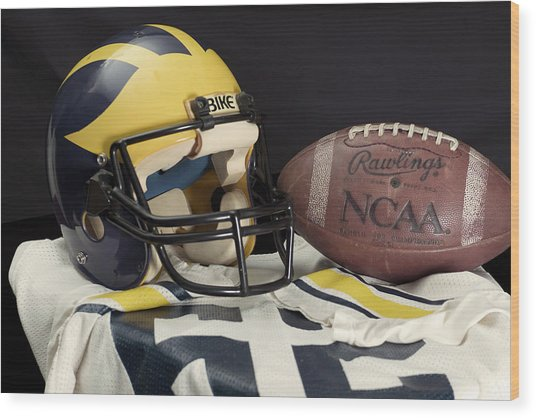 Wolverine Helmet With Jersey And Football Wood Print