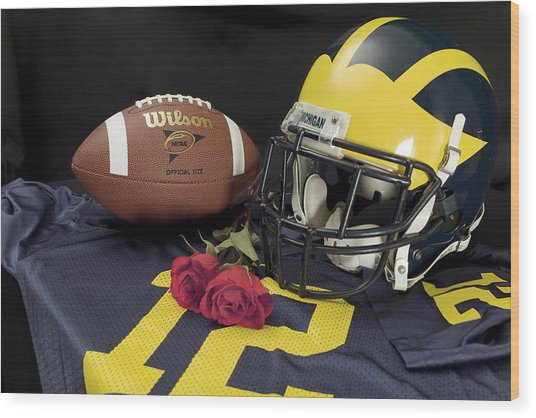 Wolverine Helmet With Roses, Jersey, And Football Wood Print