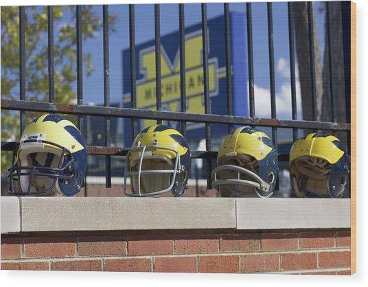 Wolverine Helmets Of Different Eras On Stadium Wall Wood Print