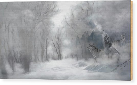 Wolves In The Mist Wood Print
