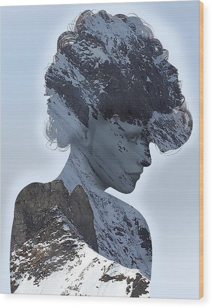 Woman And A Snowy Mountain Wood Print