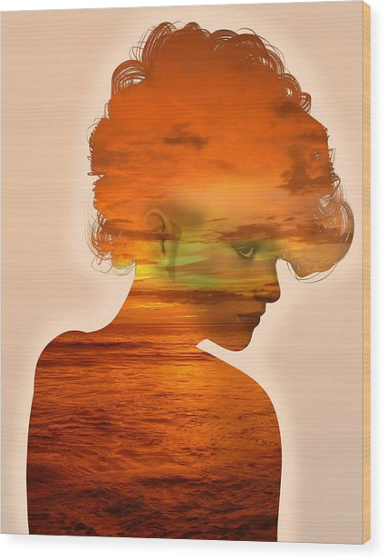 Woman And A Sunset Wood Print