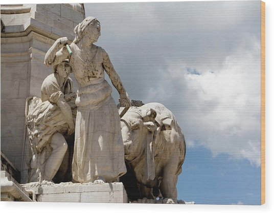 Wood Print featuring the photograph Woman And Bull, Marquis De Pombal Monument by Lorraine Devon Wilke